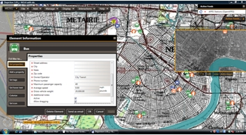 Depiction software shows assets and their properties.